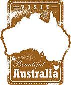 Vintage Australia Travel Stamp