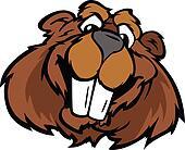 Happy Smiling Cartoon Beaver Vector Graphic