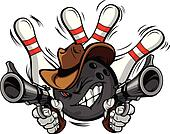 Cowboy Bowling Ball Cartoon Shootout