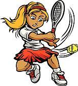 Kid Tennis Player Girl Swinging Racquet at Ball