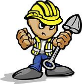Tough Guy Cartoon Construction Worker with Shovel and Hard Hat V
