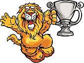 Happy Champion Lion Cartoon Vector Image