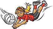 Volleyball Girl Diving for Ball Cartoon Vector Illustration