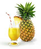 Pineapple and drink glass, with a fruit chunk and straw.