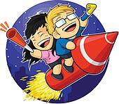Cartoon of Boy & Girl Riding New Ye
