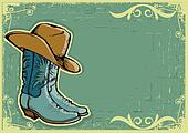 Cowboy boots .Vector image  with grunge background for text