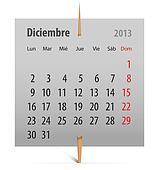 Calendar for December 2013 in Spanish