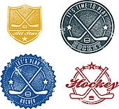 Vintage Style Hockey Sport Stamps