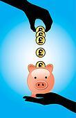 Hand Saving UK Pound in a Piggy