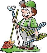 Gardener standing with tools