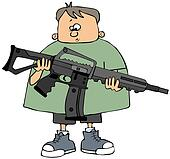 Boy holding an assault rifle