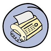 A Fax Telephone on Round Blue Backg
