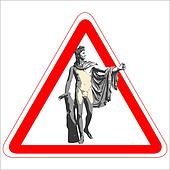 Warning sign with the god Apollo