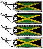 Jamaica Flags Set of Grunge Metal Tags