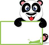 Happy Baby Panda With Blank sign