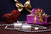 festive background with gift and candles