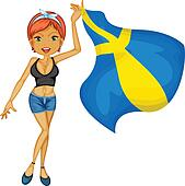 A smiling girl with a national flag of sweden