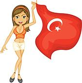 A smiling girl with a national flag of turkey
