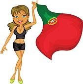 A smiling girl with a national flag of Portugal