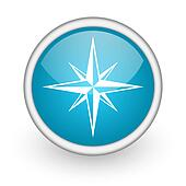 compass blue glossy icon on white background