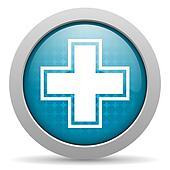 pharmacy blue glossy icon on white background