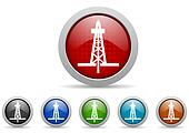 drilling glossy web icons set on white background