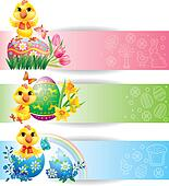 Easter colorful horizontal banners with chicken