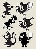 Thumbs up animal silhouettes