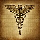 Caduceus on an old grunge parchment document as a vintage medical symbol and health care and medicine icon with snakes crawling on a pole with wings as a pharmacy medicine concept.