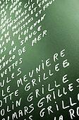 Green chalkboard with menu.