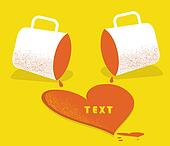 love card.Vector illustration with two cups and coffee heart