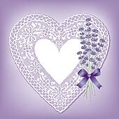 Lace Heart Doily, Sweet Lavender