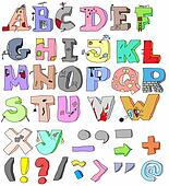 hand-drawn funny alphabet