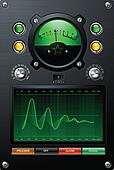 Analog Signal Meter with Green Sine