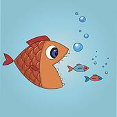 Fish trying to eat two small fishes