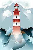 Lighthouse lights on over the unsteady sea
