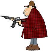Hunter with an assault rifle