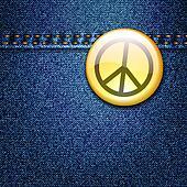 Peace Badge on Denim Fabric Texture Jacket