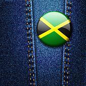 Jamaica Flag Badge On Jeans Denim Texture Vector