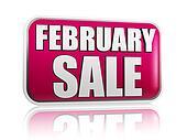 february sale in purple banner