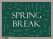 Spring Break Word Cloud Concept on a Blackboard