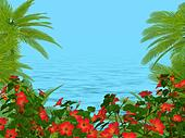 Palm trees und hibiscus flowers frame