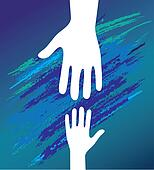 Hand of the child in father encouragement. Support moral.