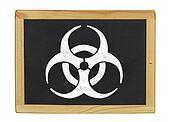 biohazard symbol on a blackboard