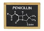 chemical formula of penicillin on a blackboard