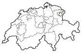 Map of Swizerland, Appenzell Innerrhoden highlighted