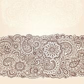Henna Paisley Flowers Border Design