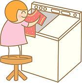 kid preparing laundry
