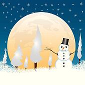 Snowman in a full moon night