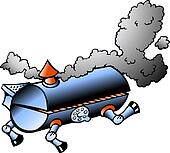 Hand-drawn illustration of an running BBQ barrel